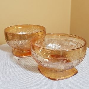 Orange Glass Bowls, Set of 2